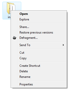 Defragment folder by right-clicking