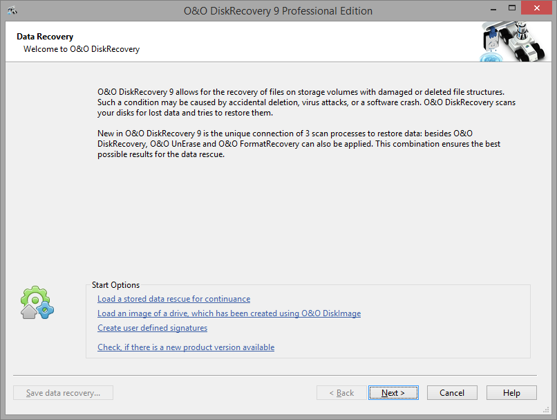 O&O DiskRecovery startup dialog box