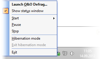 O&O Defrag Tray Icon: right click