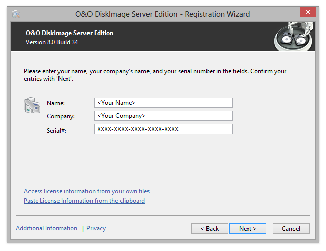 O&O DiskImage Registration wizard: Enter the license key