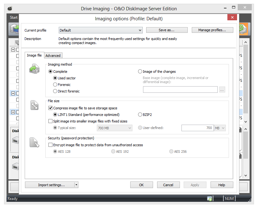O&O DiskImage Drive imaging options