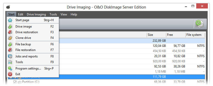 O&O DiskImage: Program settings