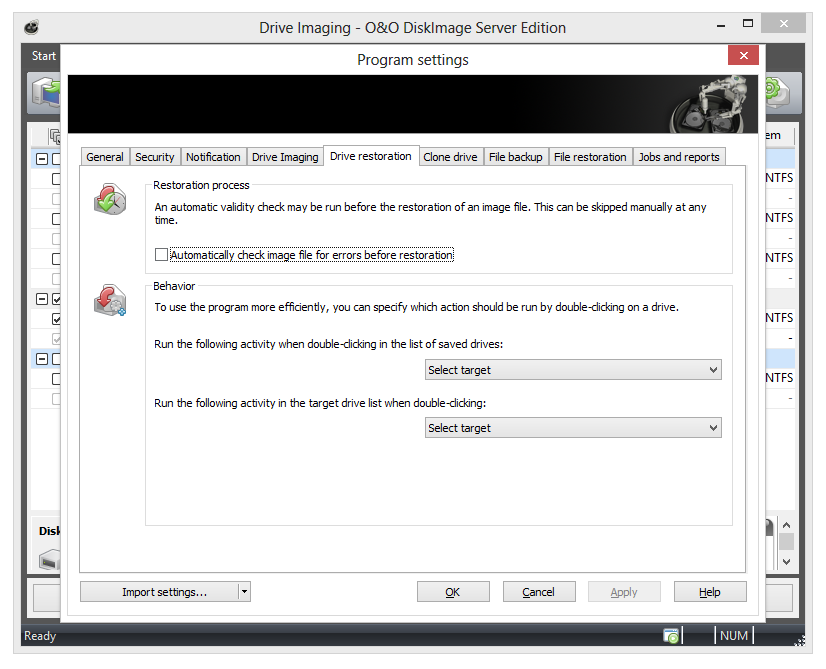 O&O DiskImage settings: Drive restoration