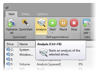 Start the analysis of your drives