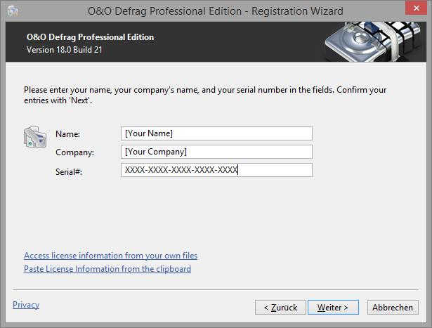 O&O Defrag Registration wizard: Enter the license key