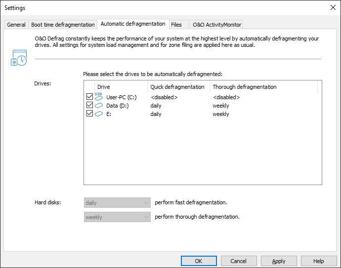 Settings for the automatic defragmentation