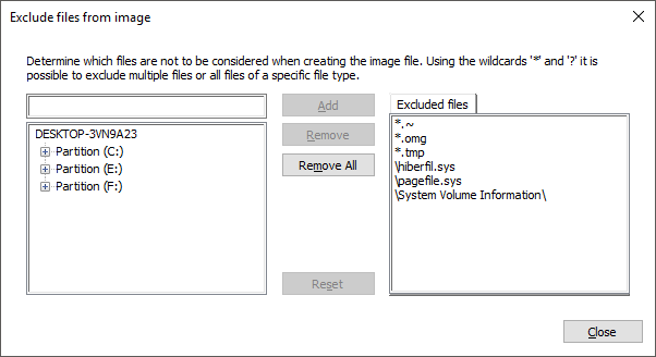 Exclude files from an image