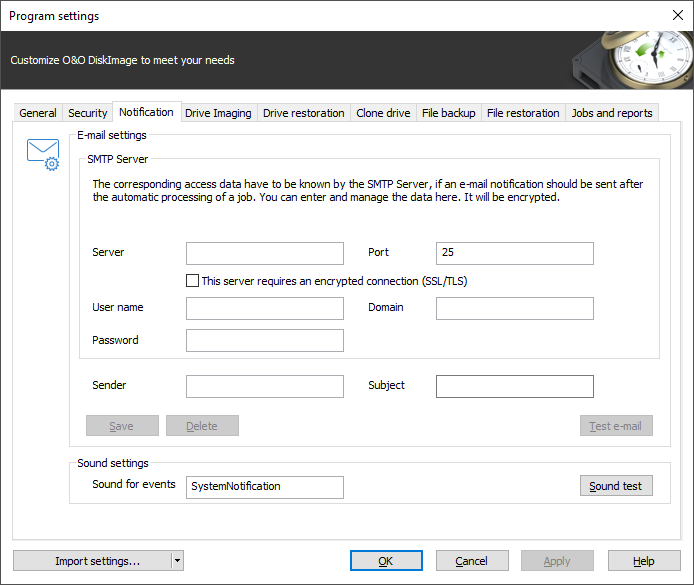 SMTP settings for notification