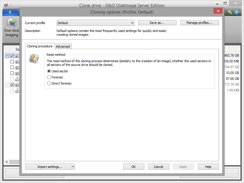 Settings for cloning drives