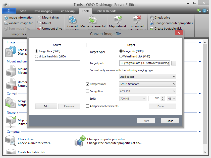 Convert image file into a virtual hard disk