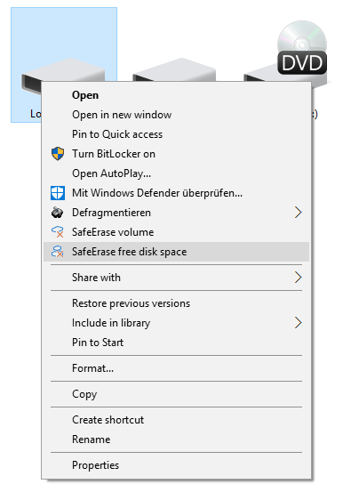 Context Menu (via right-clicking) to SafeErase free space