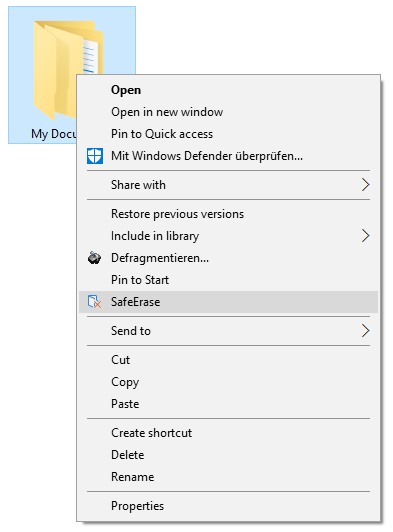 Context Menu (via right-clicking) to securely delete files and folders