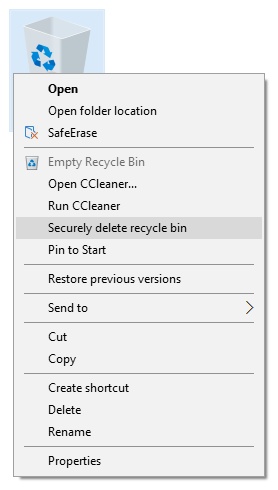 Via right-clicking for Recycling Bin with SafeErase Option