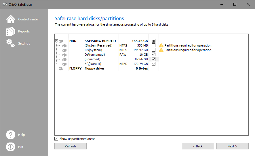 SafeErase individual partitions and hard disks
