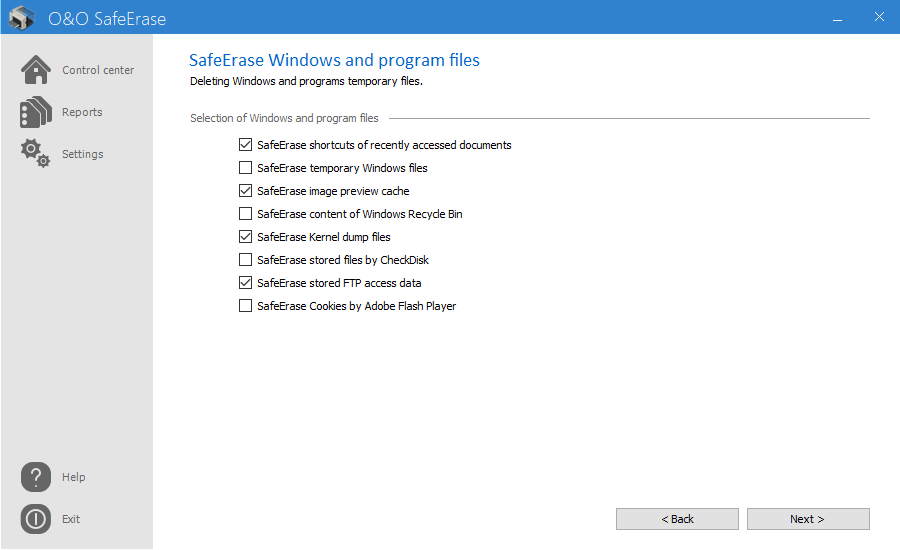 SafeErase temporary Windows and program files