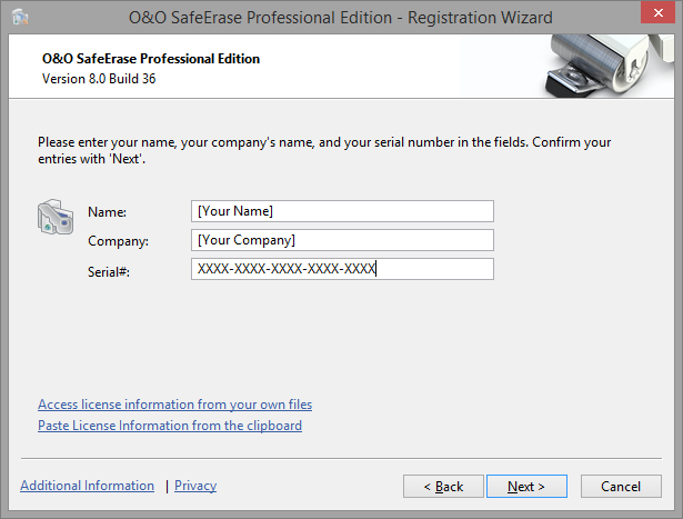 Registration wizard: Enter the license key