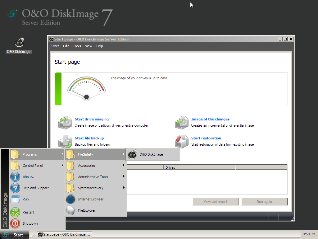 Using the Start CD from O&O DiskImage